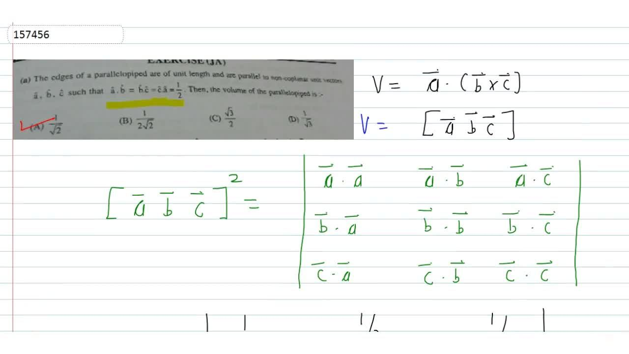 The edges of a parallelopiped are of unit length and are parallel  to non-coplanar unit vectors vec a, vec b, vec c such that hat a.hatb=hatb .hatc=hatc.hata=1,2. Then, the volume of parallelopiped is