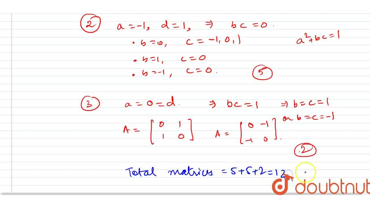 """Let A=[a_(""""ij"""")] be a matrix of order 2 where a_(""""ij"""") in {-1, 0, 1} and adj. A=-A. If det. (A)=-1, then the number of such matrices is ______ ."""