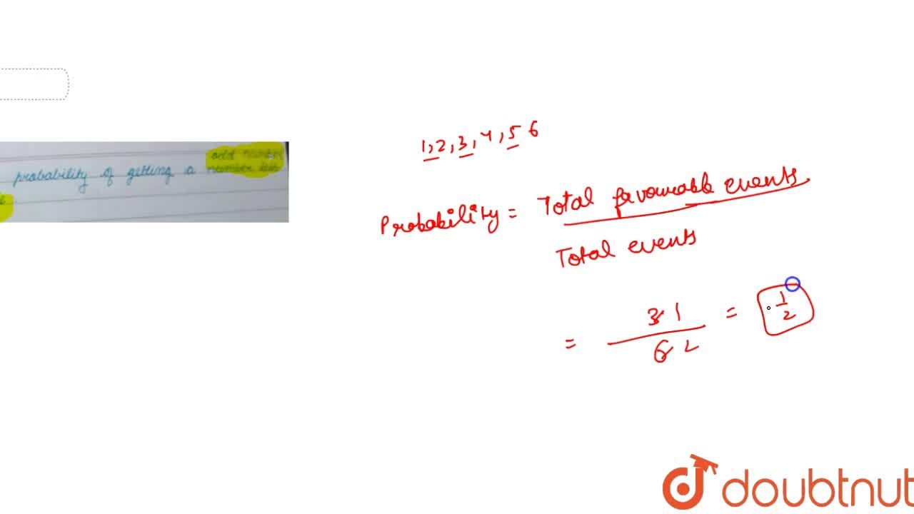 Solution for what is probability of getting an odd number on a