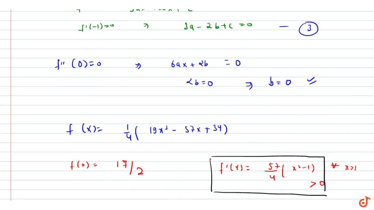 f(x) is cubic polynomial with f(x)=18a n df(1)=-1 . Also f(x) has local maxima at x=-1a n df^(prime)(x) has local minima at x=0 , then the distance between (-1,2)a n d(af(a)), where x=a is the point of local minima is 2sqrt(5)  f(x) is increasing for x in [1,2sqrt(5])  f(x) has local minima at x=1  the value of f(0)=15