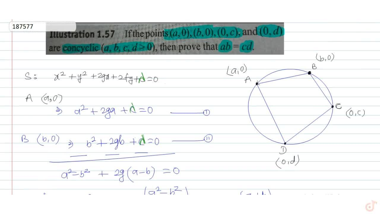 If the points (a, 0), (b,0), (0, c), and (0, d) are concyclic (a, b, c, d > 0), then prove that ab = cd.