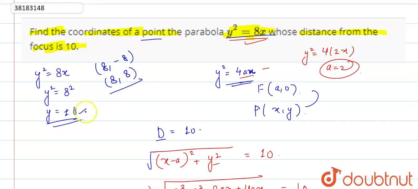 Solution for Find the coordinates of a point the parabola y^(2