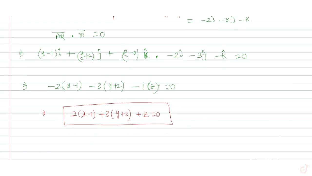 Solution for Find the equation of the plane containing the stra