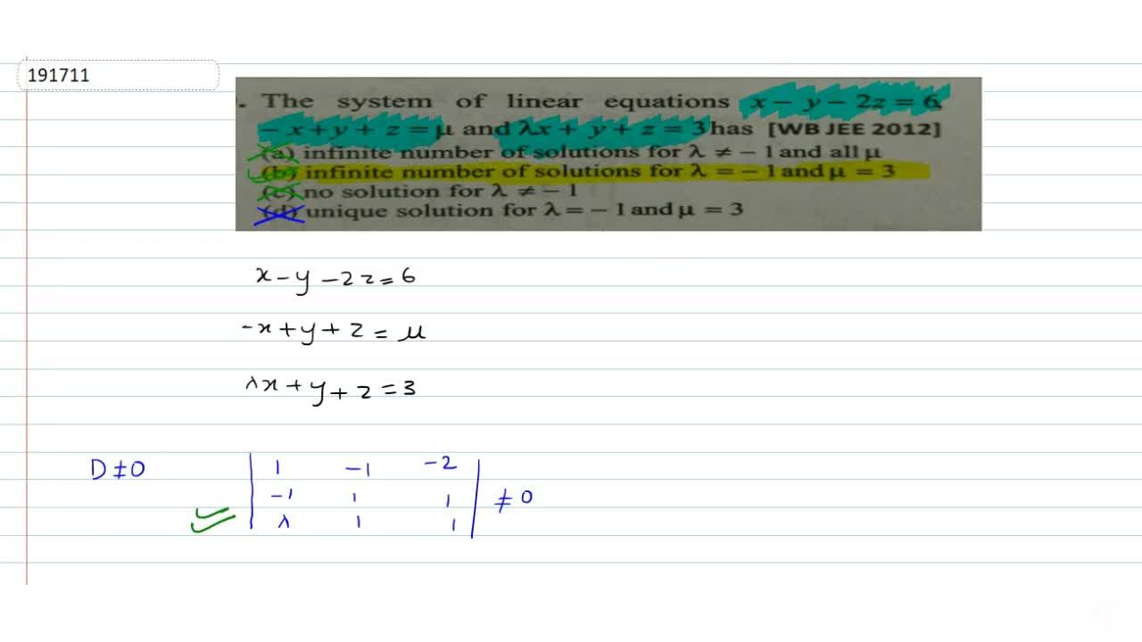Solution for The system of linear equations x-y-2z=6. -x+y+z=m