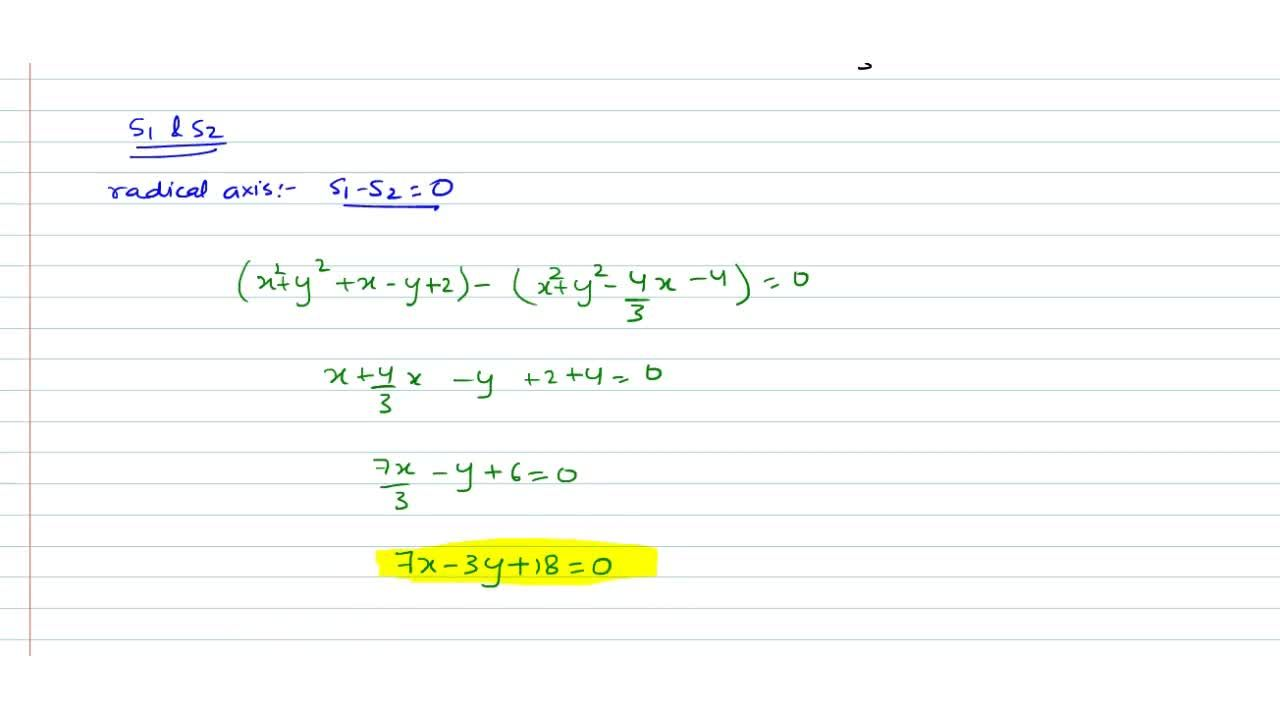 Solution for  Find the equation of the radical axis of circles