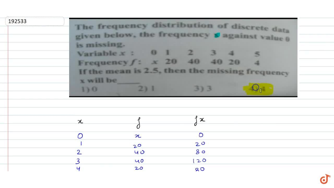 Solution for The frequency distribution of discrete data is giv