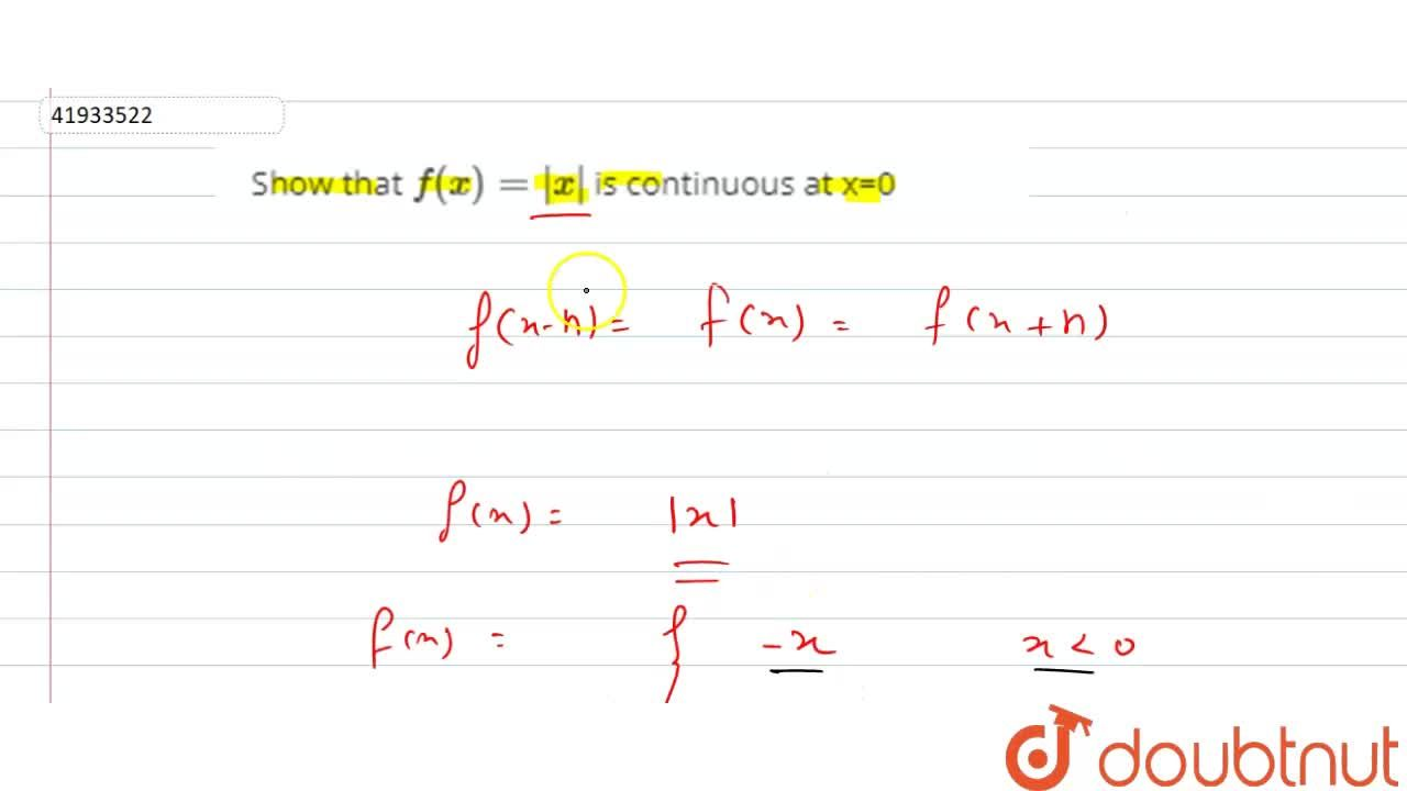 Show that f(x)=|x| is continuous at x=0