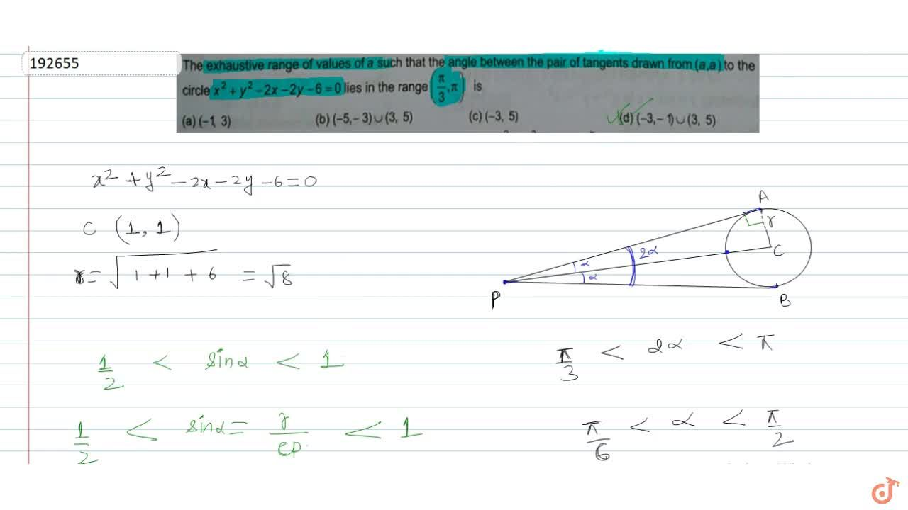 The exhaustive range of value of a such that the angle between the pair of tangents drawn from  (a,a) to the circle  x^2 +y^2 -2x -2y -6 =0  lies in the range  (pi,3,pi) is