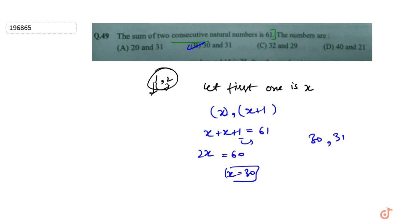 Solution for  The sum of two consecutive natural numbers is 61.