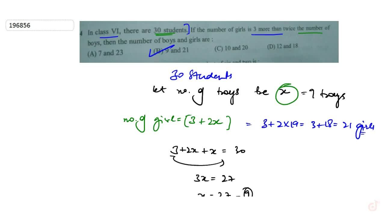 Solution for  In class VI, there are 30 students. If the number