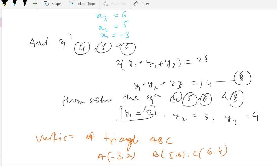 Solution for If  (5.5, 6), (1.5, 3) and (1, 5) are the co-ordin