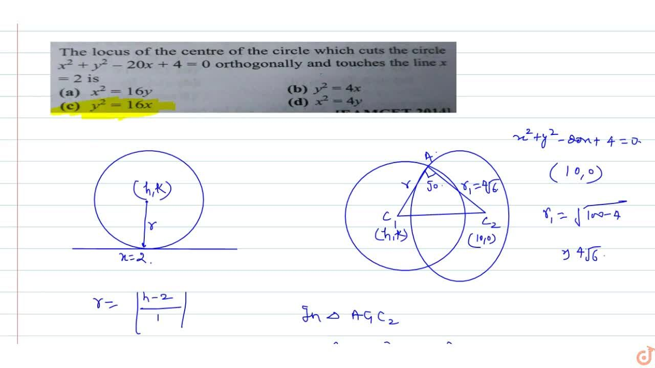 Solution for The locus of the centre of the circle which cuts t