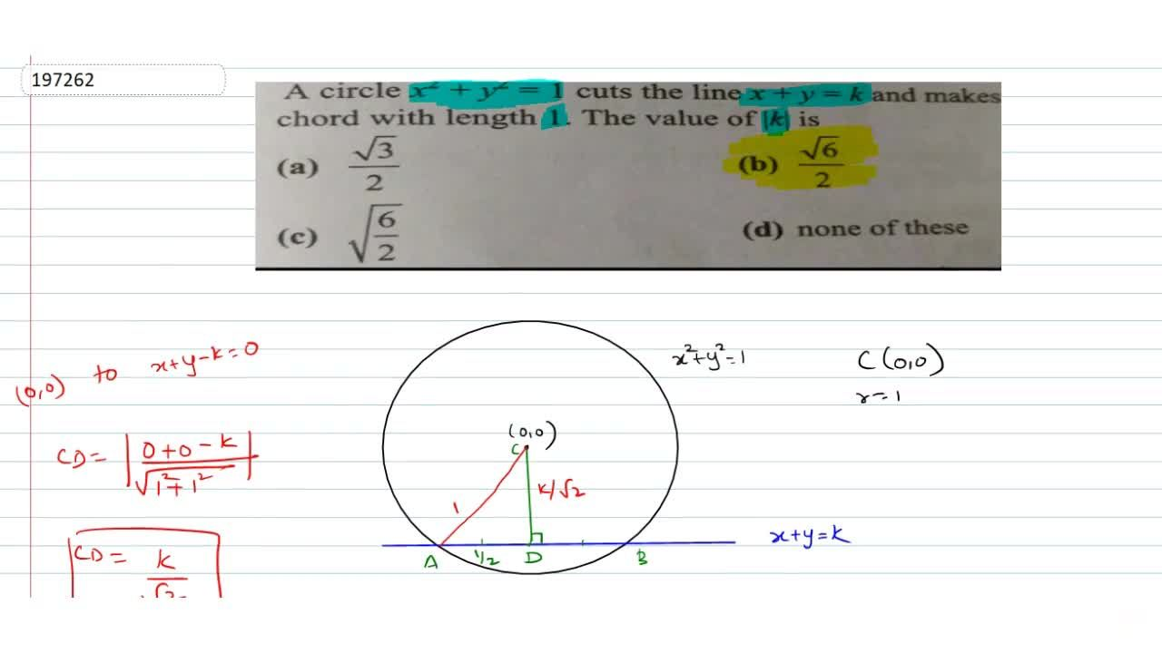 Solution for  A circle x^2 + y^2 = 1 cuts the line x+y=k and