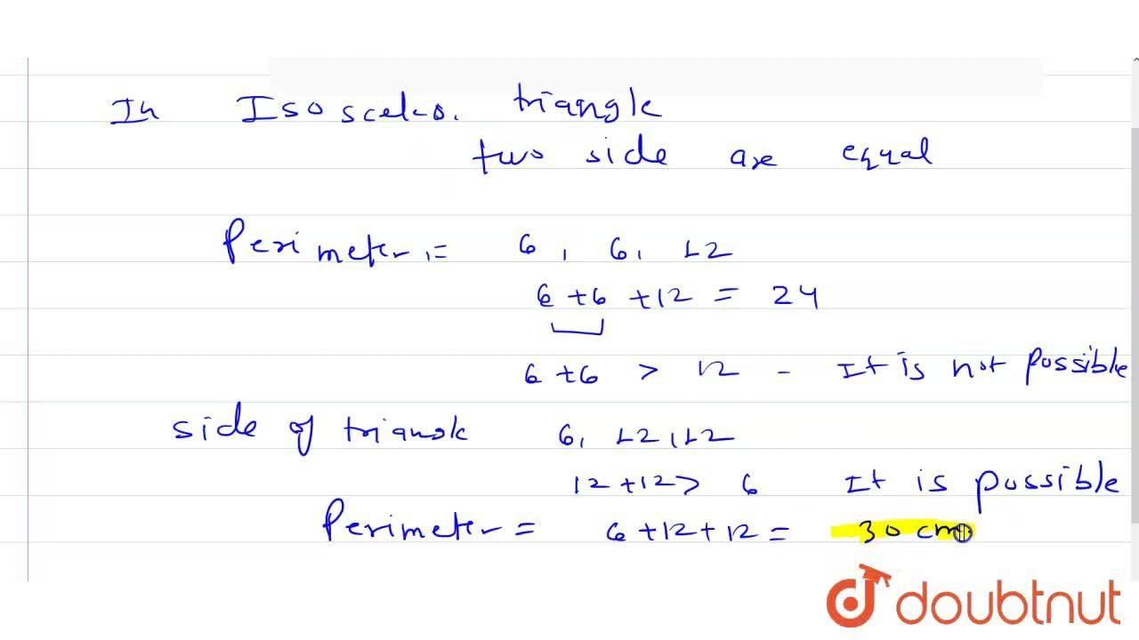 Solution for The two sides of an isosceles triangle are 6 cm an