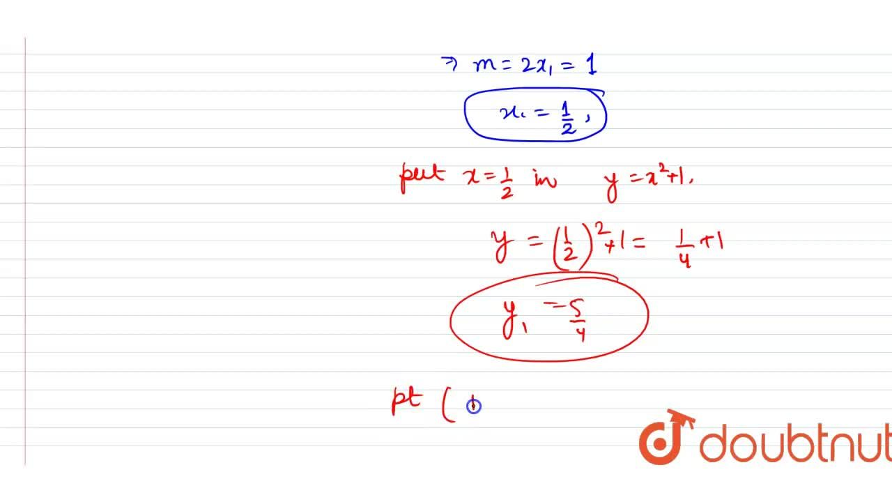 Solution for Find the point on the curve y+x^(2)+1 at which t