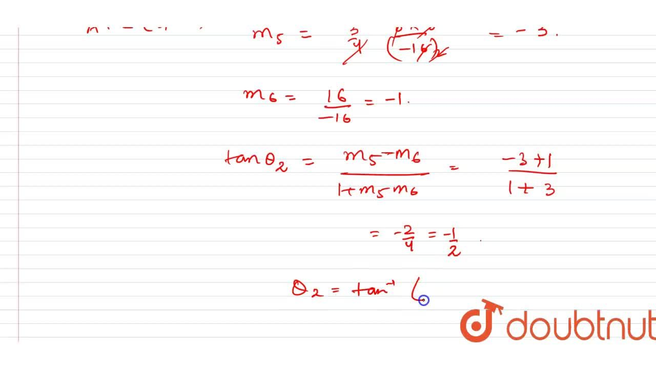 Solution for Find the angle of intersection of the curves 2y^(