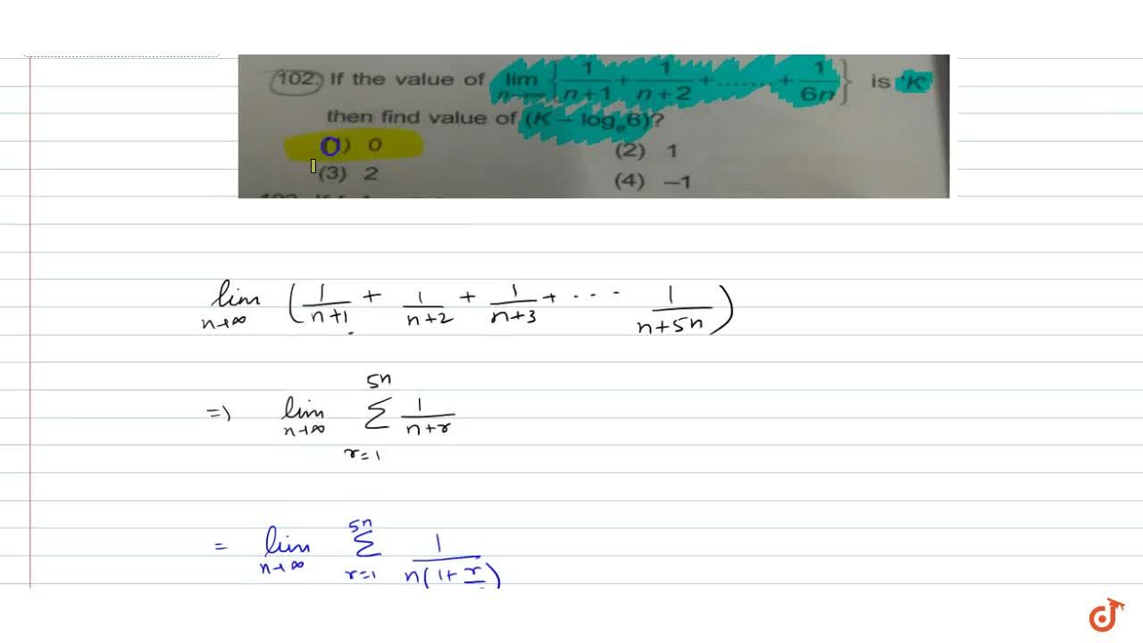 Solution for If the value of  lim_(n->oo){1,(n+1)+1,(n+2)+....
