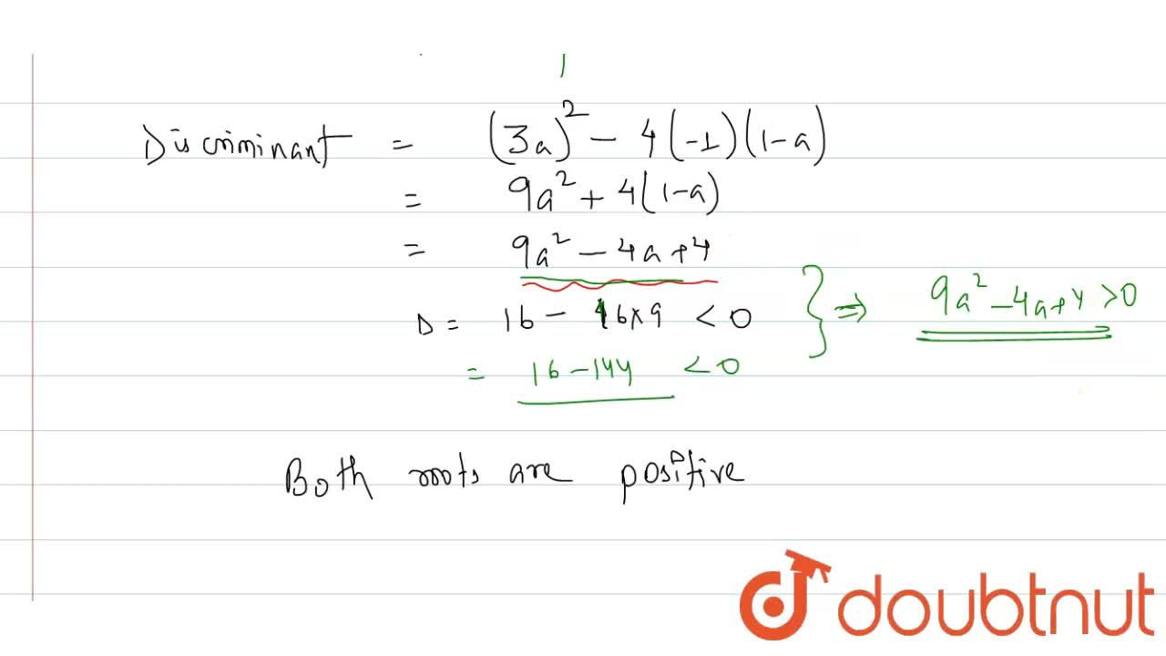 Solution for If a gt 1 , then the roots of the equation (1-a