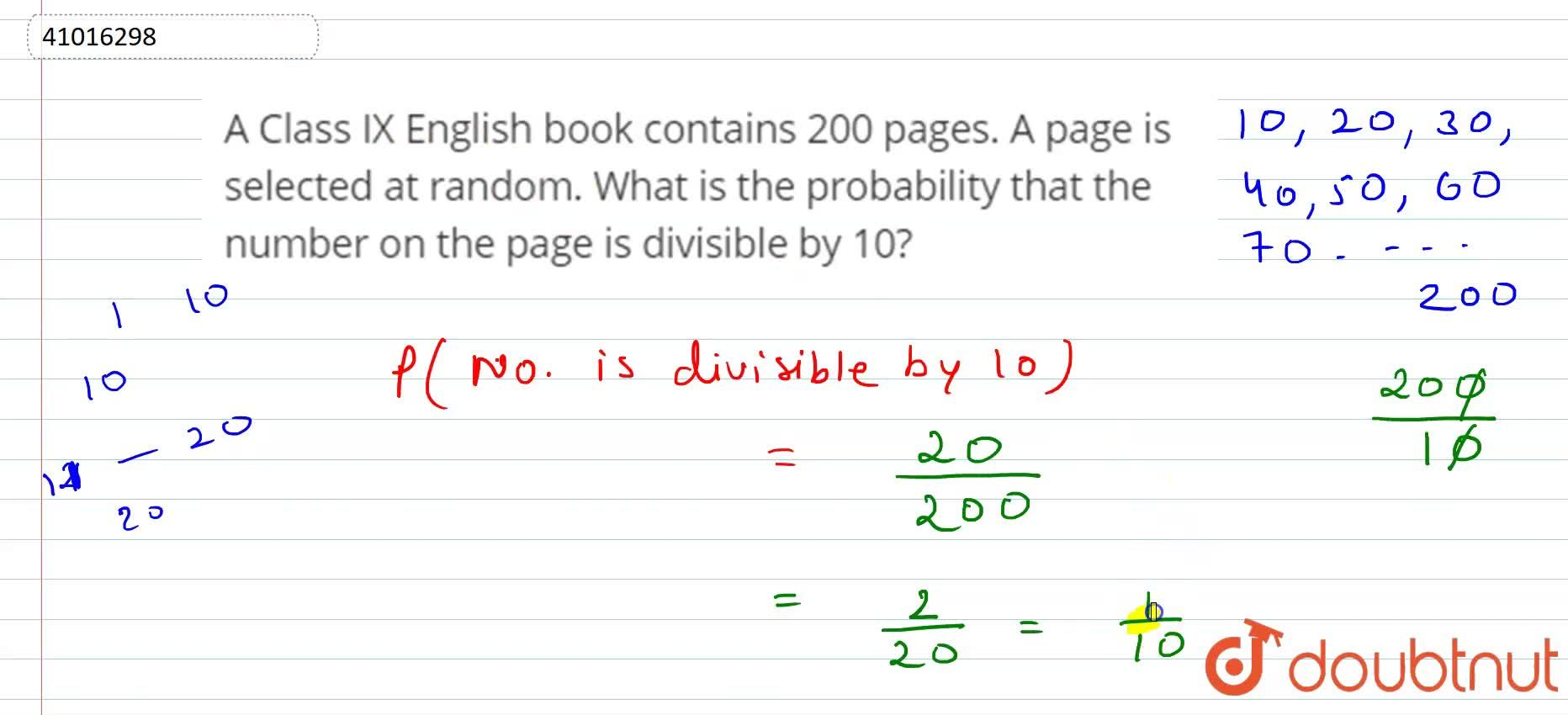 Solution for A Class IX English book contains 200 pages. A page