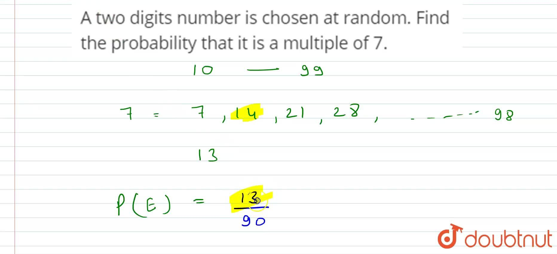 Solution for A two digits number is chosen at random. Find the