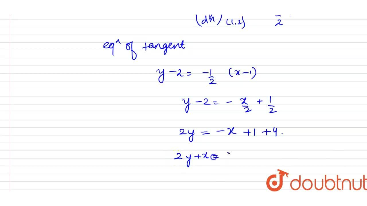Find the equation of tangent of the curve  x^(2)+y^(2)=5 at point (1, 2).