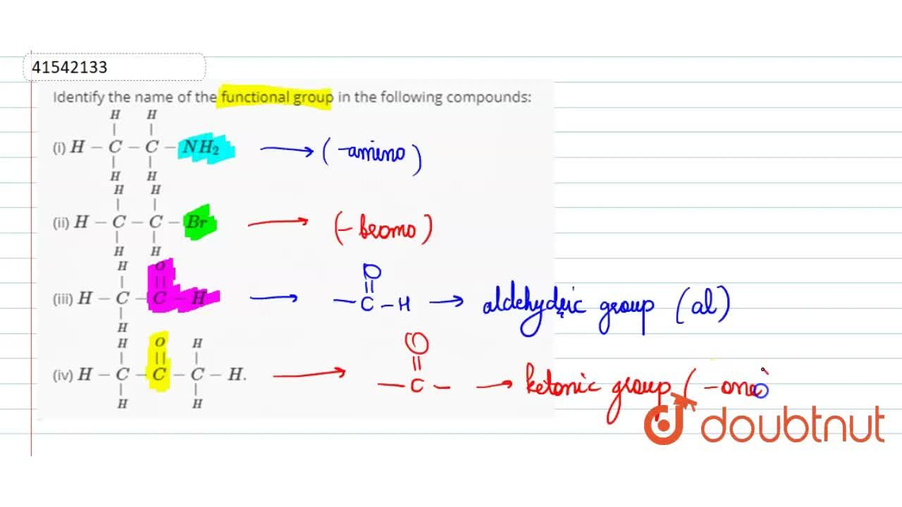 Solution for Identify the name of the functional group in the f
