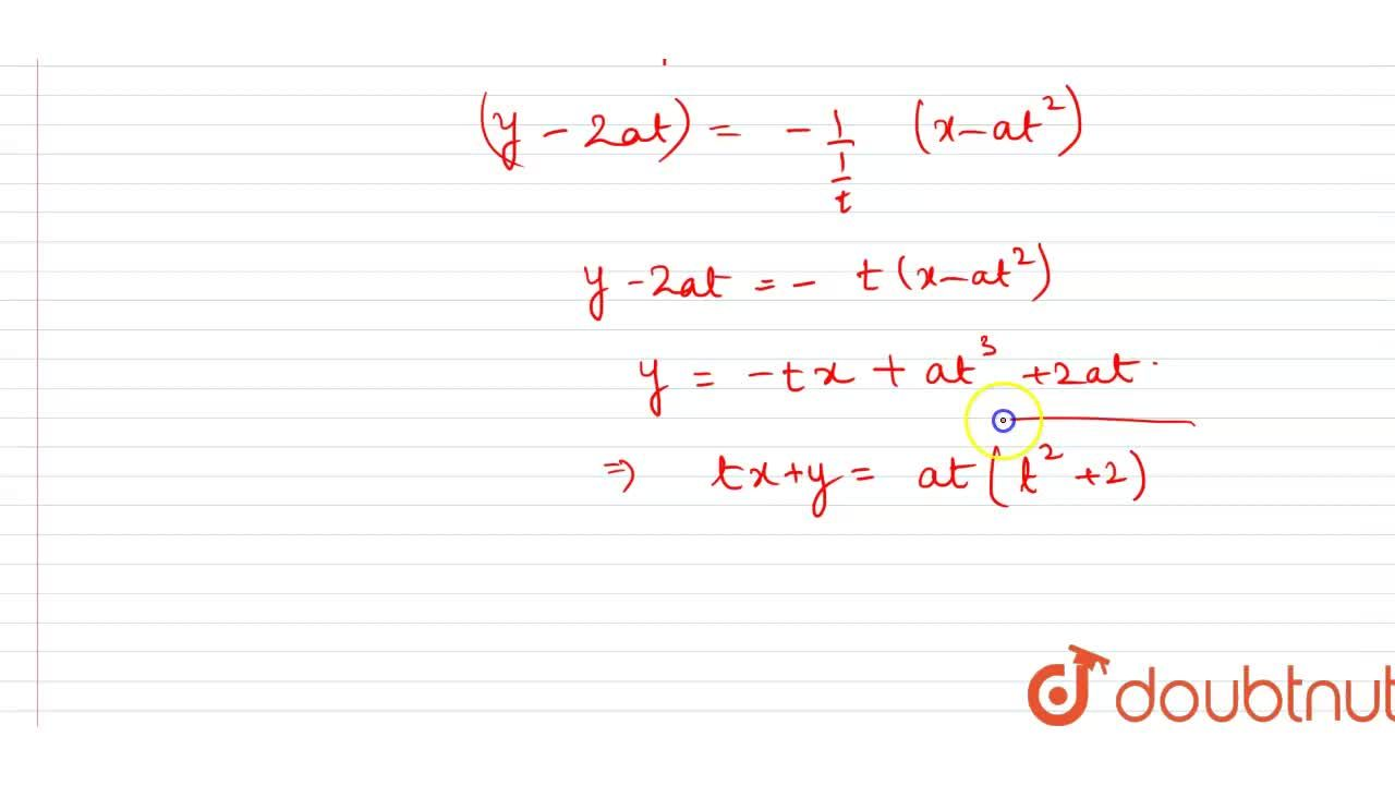 Solution for Find the equation of normal to the curve x = at^(