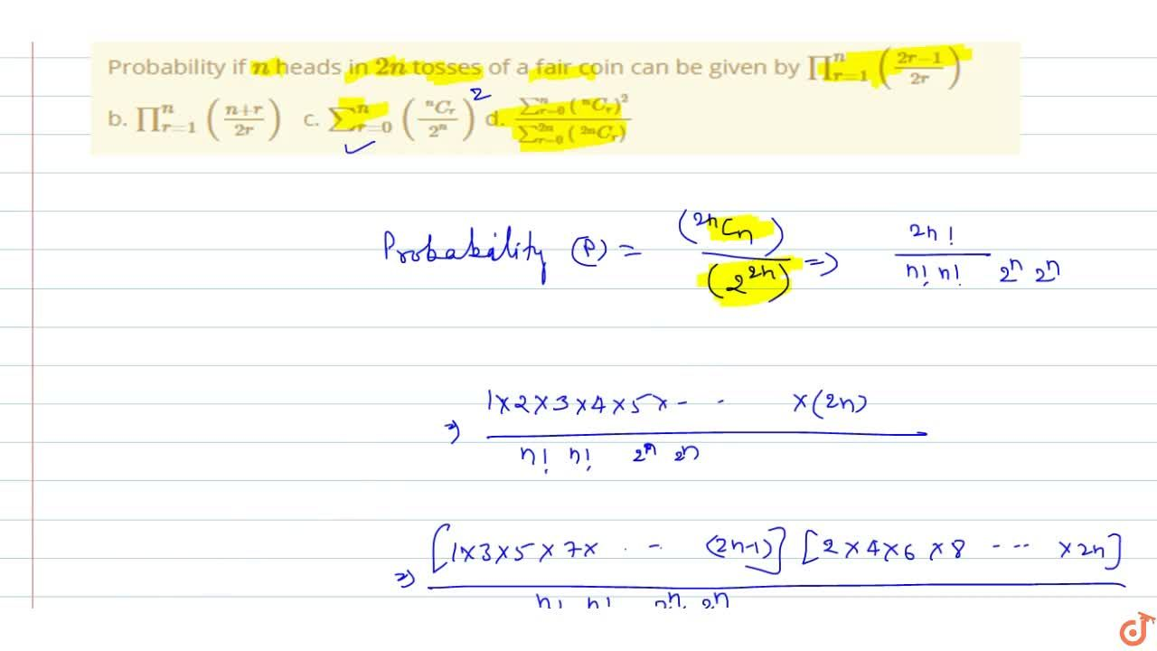 Solution for Probability if n heads in 2n tosses of a fair
