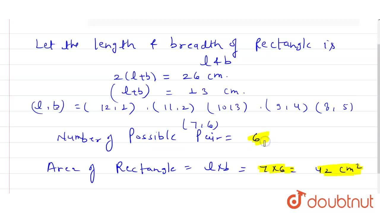 Solution for The perimeter of a rectangle is 26 cm.  The length