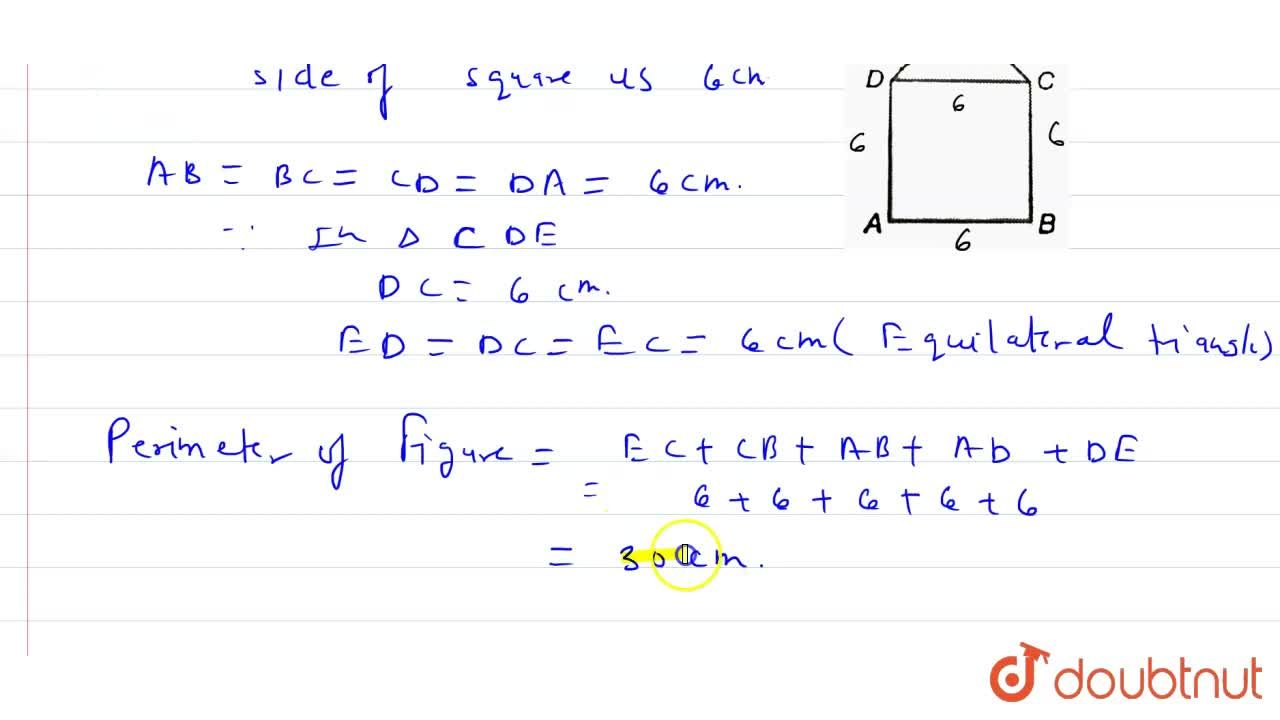 Solution for In the given figure, ABCD is a square of side 6 cm