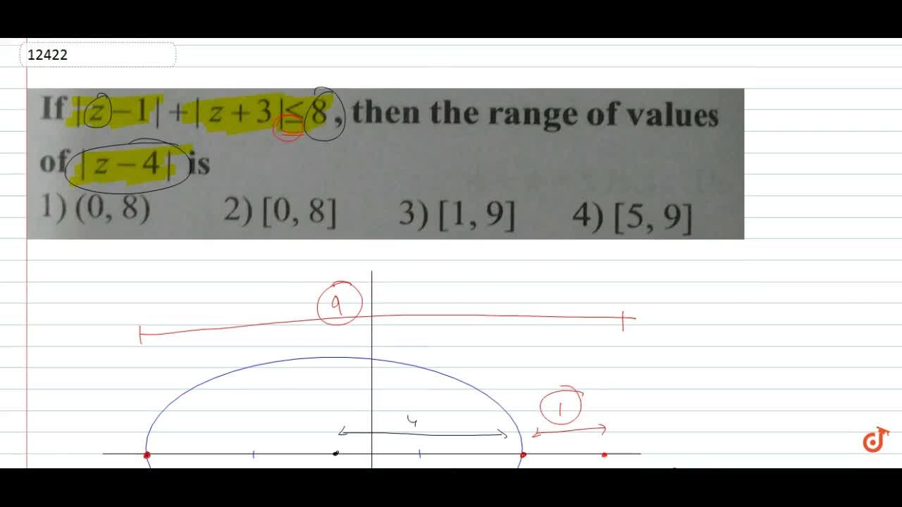 If |z-1|+|z+3|<=8, then the range of values of |z-4| is