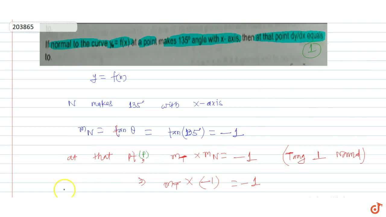 Solution for If normal to the curve y = f(x) at a point makes