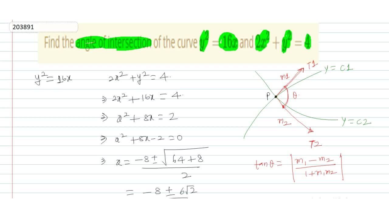 Solution for Find the angle of intersection of the curve y^2 =
