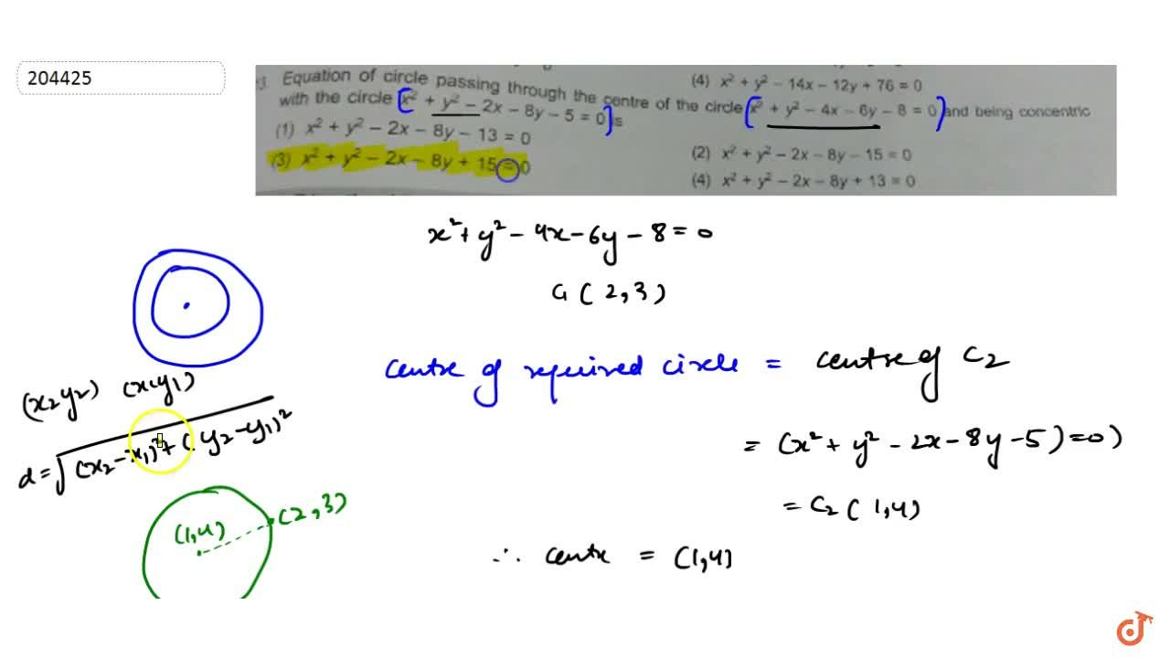 Solution for Equation of circle passing through the centre of t