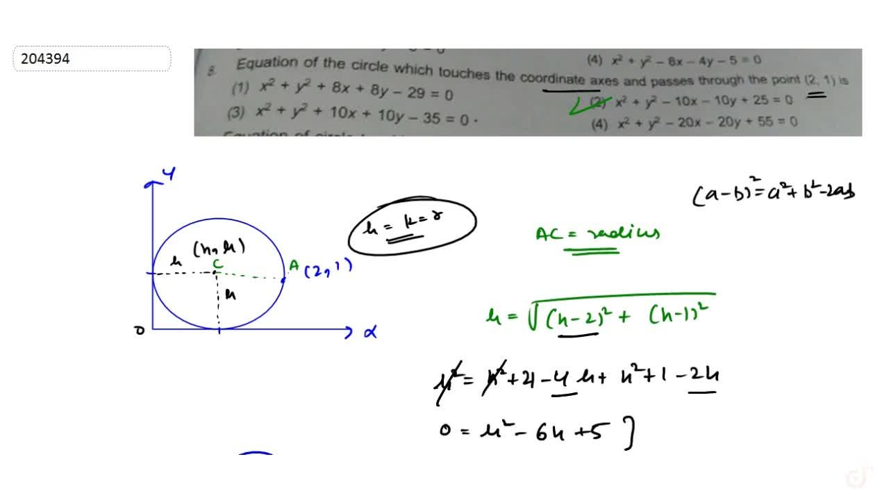 Equation of the circle which touches the coordinate axes and passes through the point (2,1) is