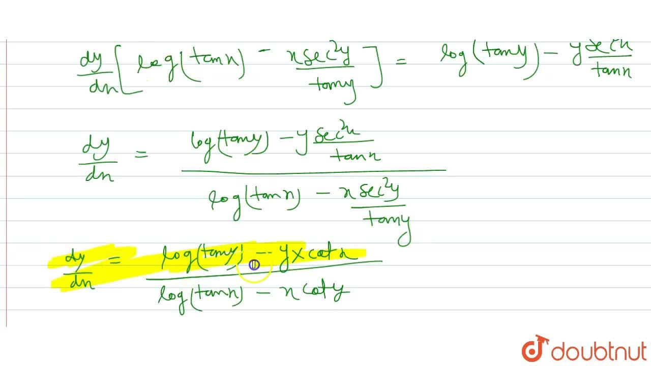 Solution for (tanx)^(y)=(tany)^(x)