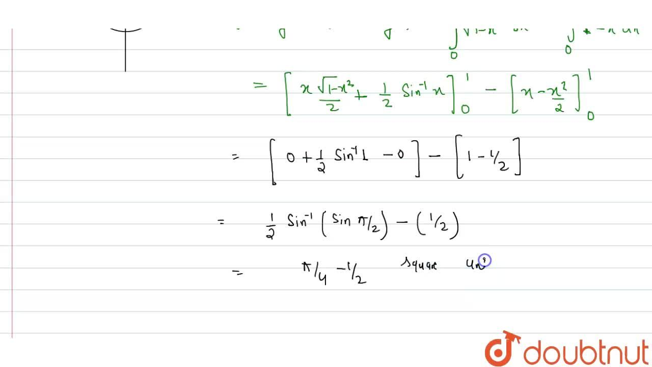 Solution for Using integration, find the area of the region <br