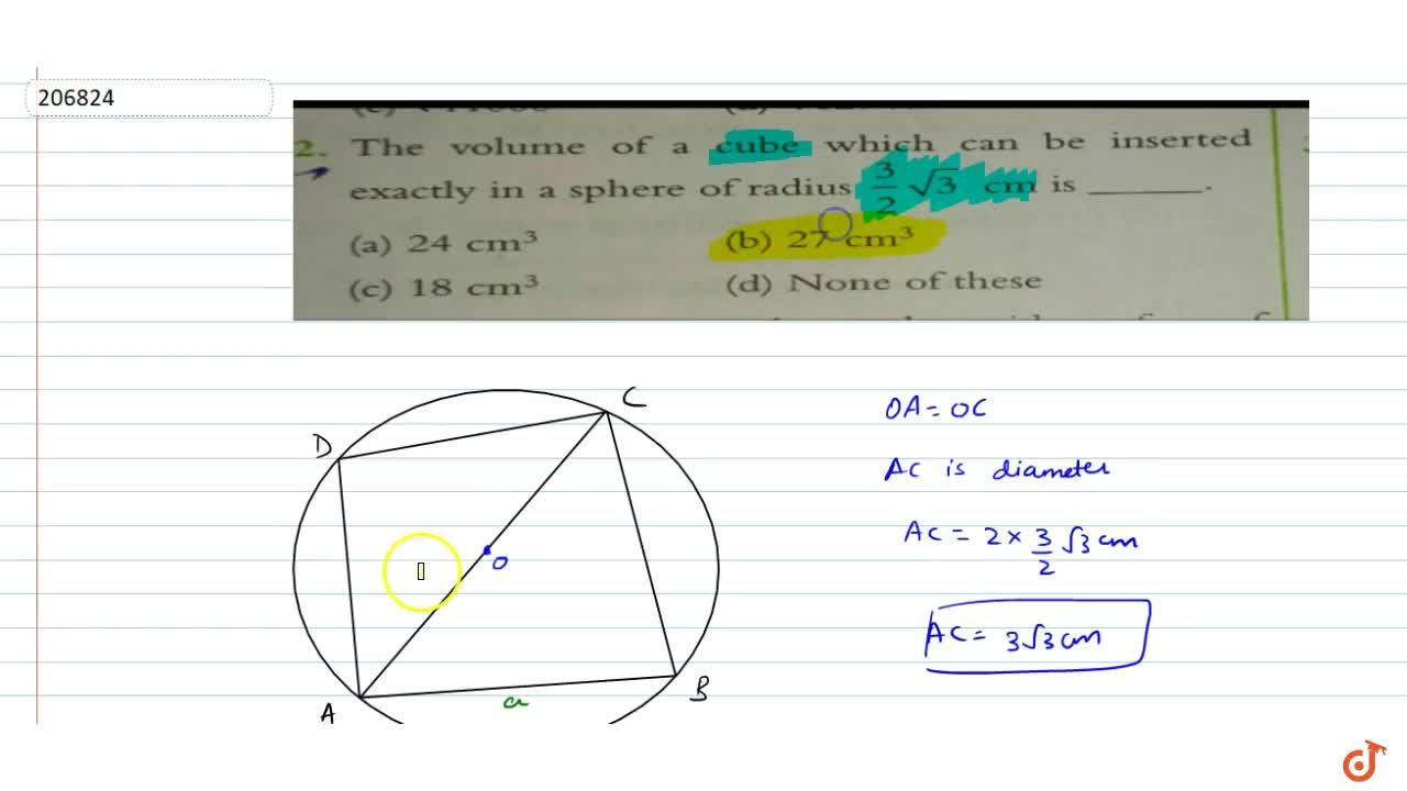 Solution for The volume of a cube which can be insertedexactly