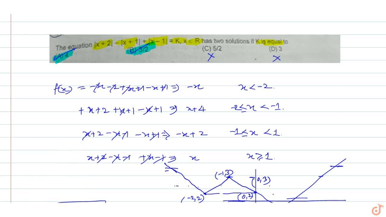 Solution for The equation   x + 2  -  x + 1  +  x -1  =K,x in