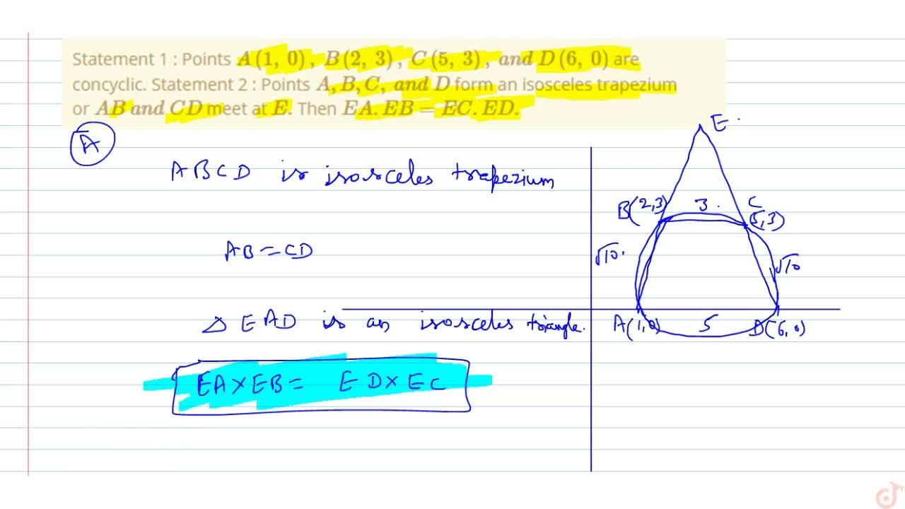 Solution for Statement 1 : Points A(1,0),B(2,3),C(5,3),a n dD(