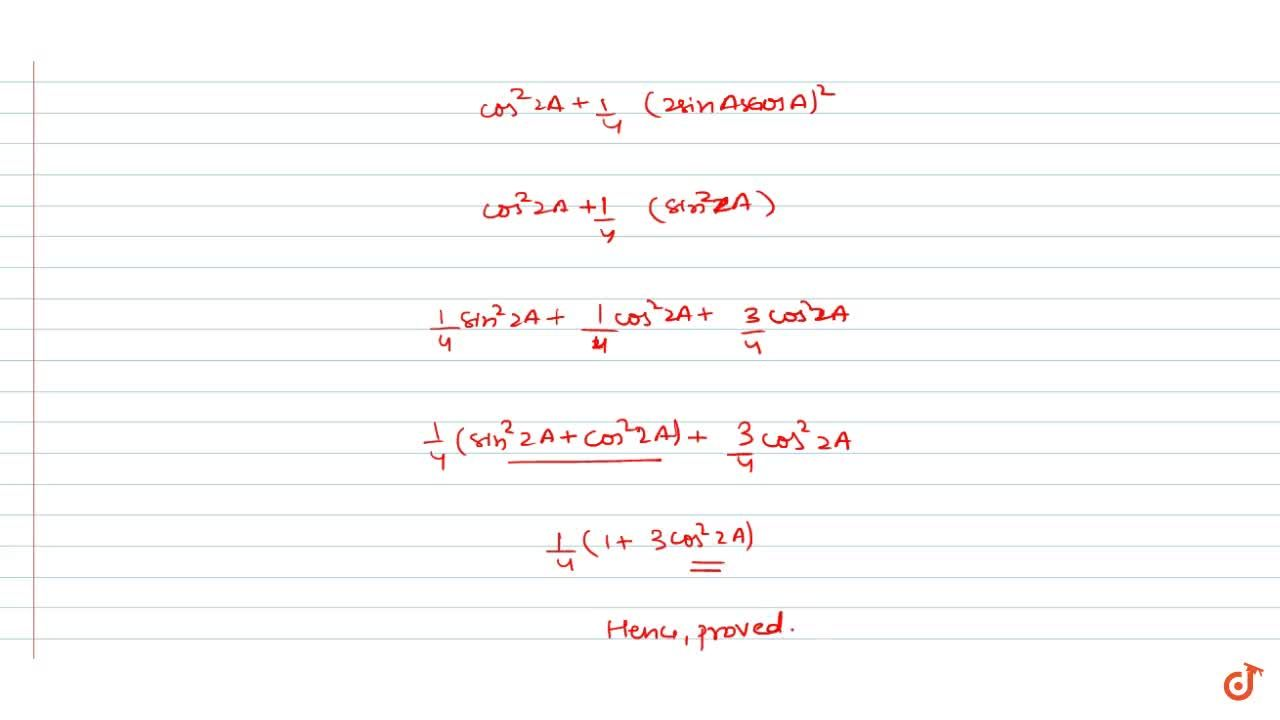 Solution for cos^6A+sin^6A=1,4(1+3cos^2 2A) cos6A+ sin A = (1