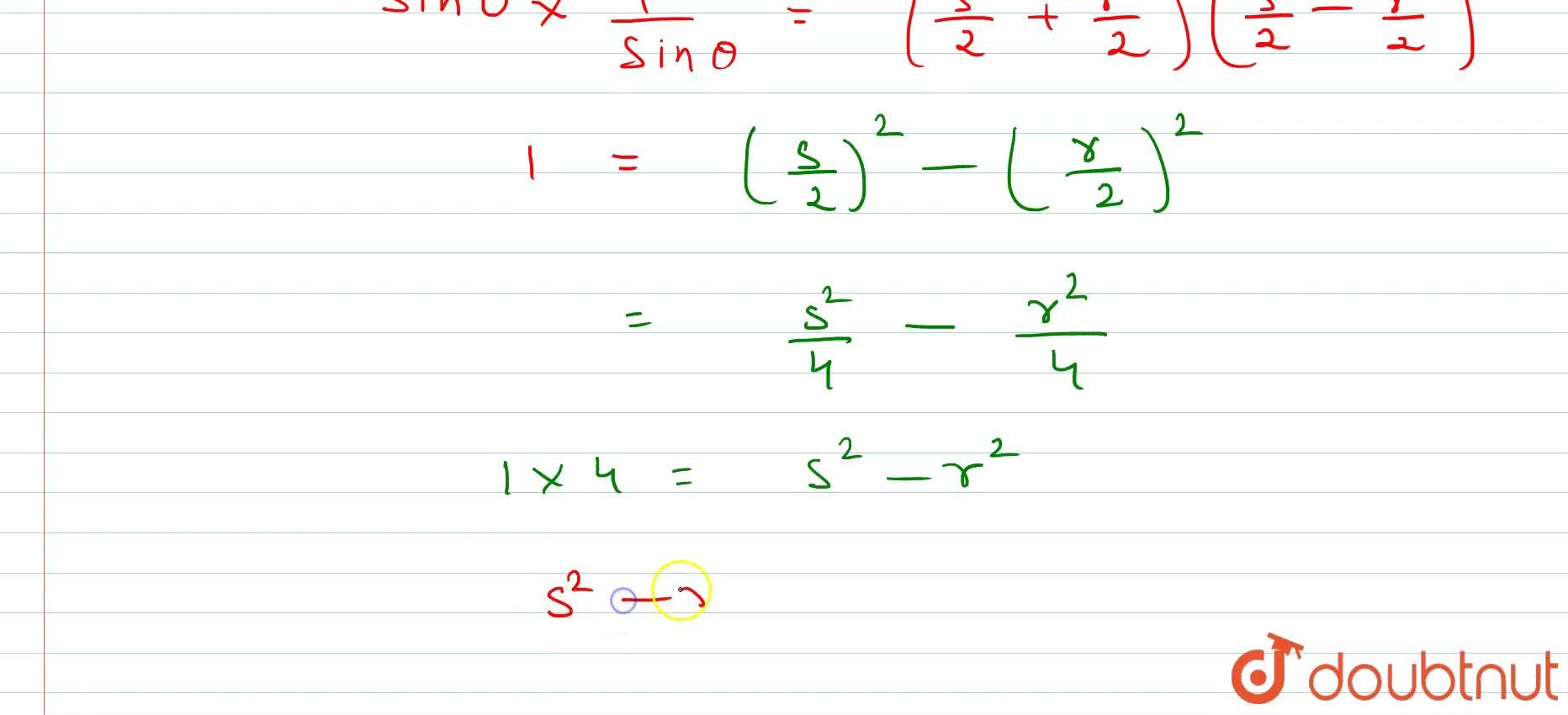 Solution for Eliminate theta from the equation s=sin theta +