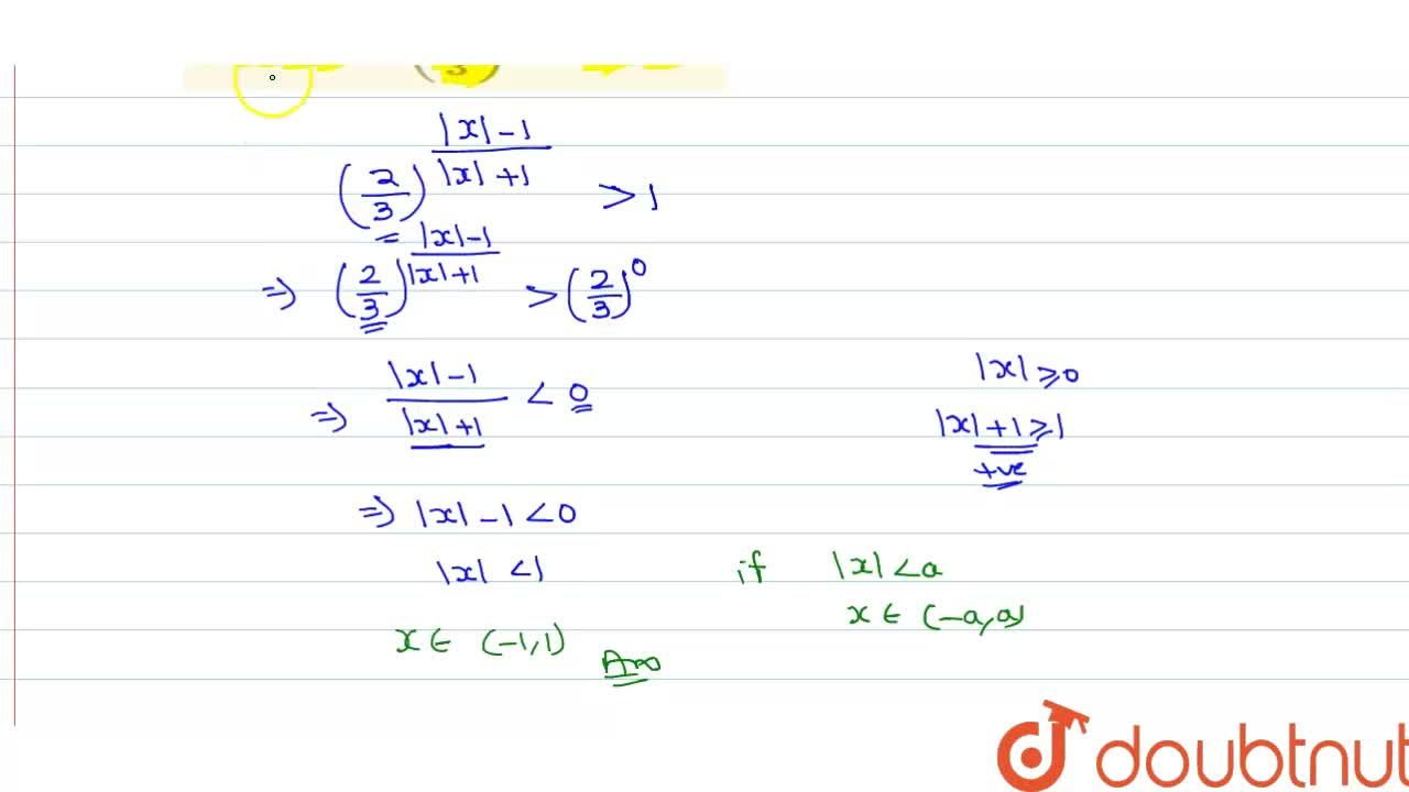 Solution for Solve for x: (2,3)^((|x|-1),(|x|+1)) gt 1