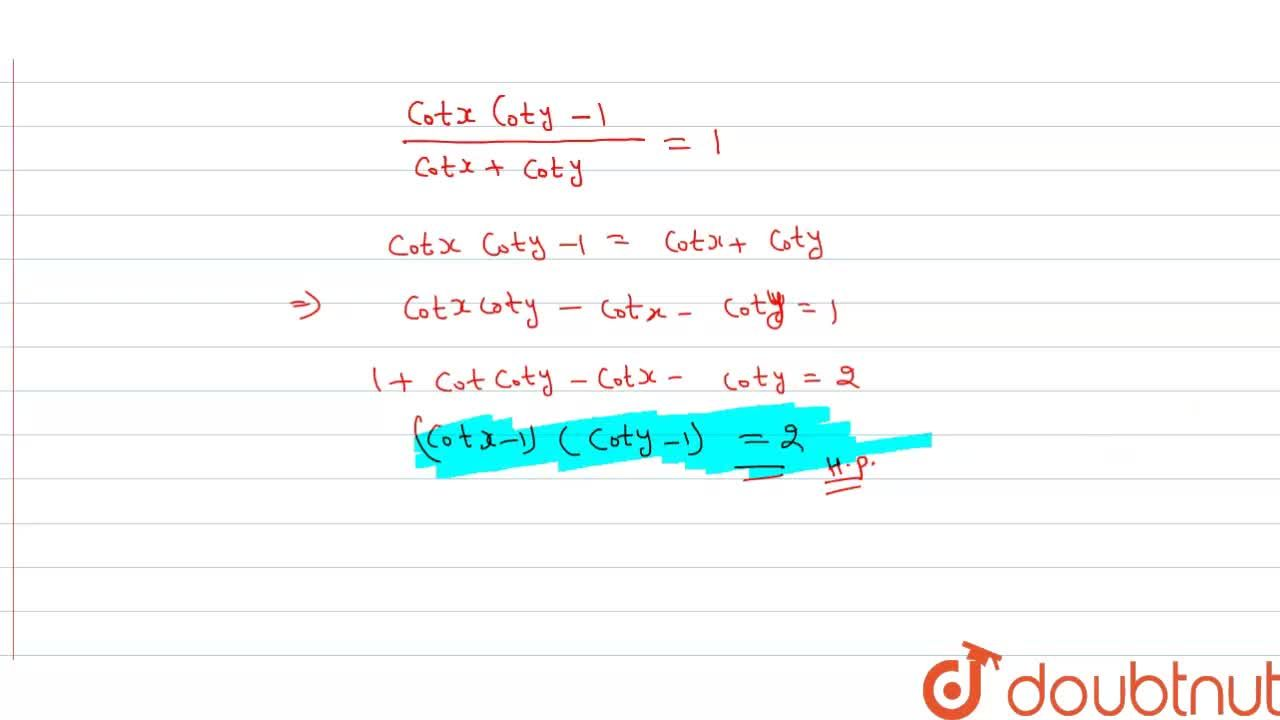 Solution for If x+y=45^(@), then prove that:  a) (1+tanx)(1+