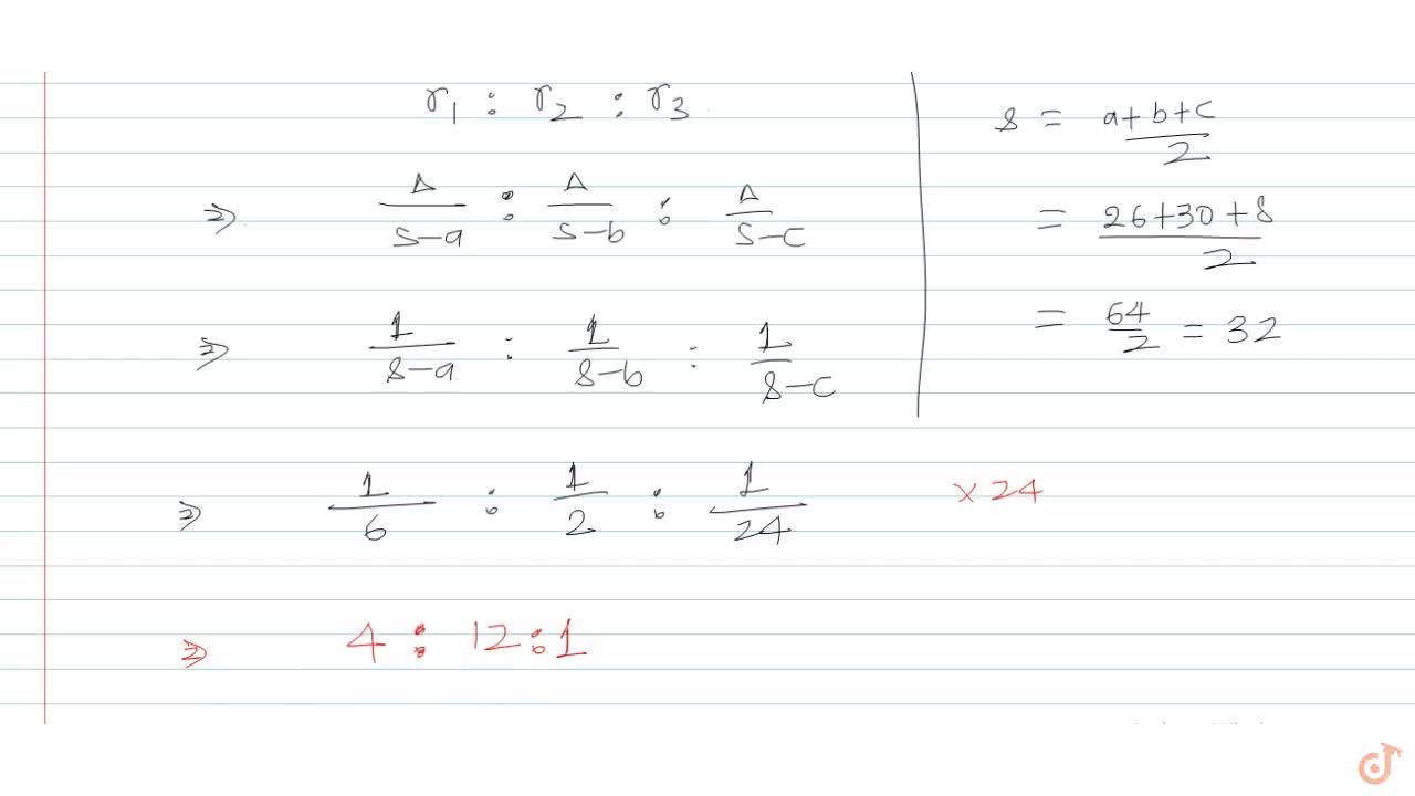If  a = 26, b = 30, cosC = 63,65, then  r_1:r_2:r_3 =