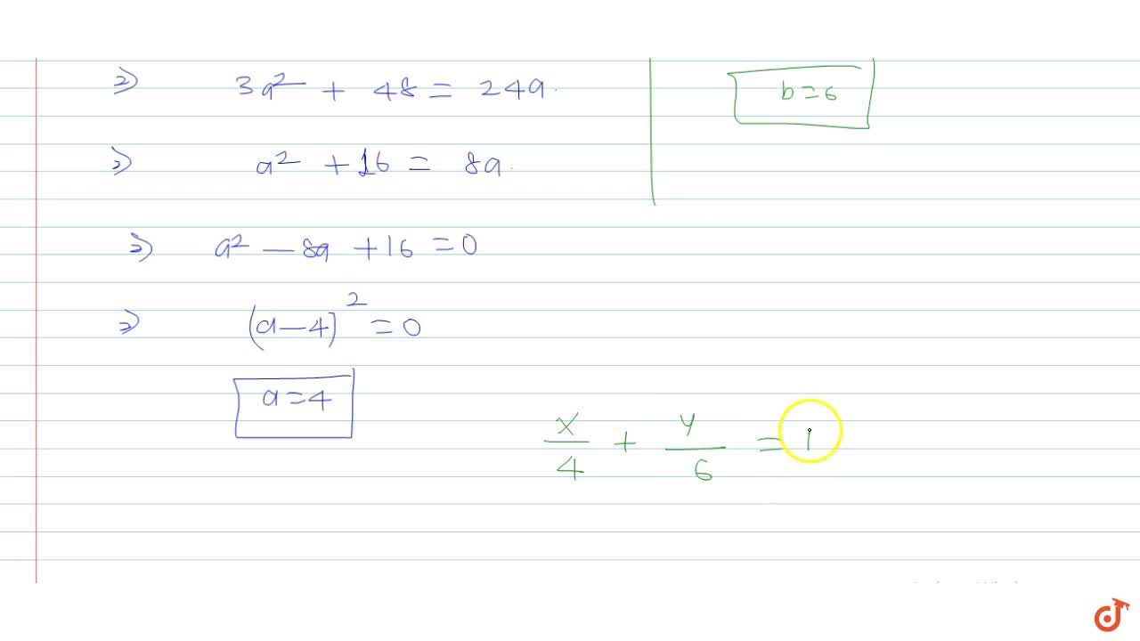 Solution for  A straight line passes through the point (2, 3) a