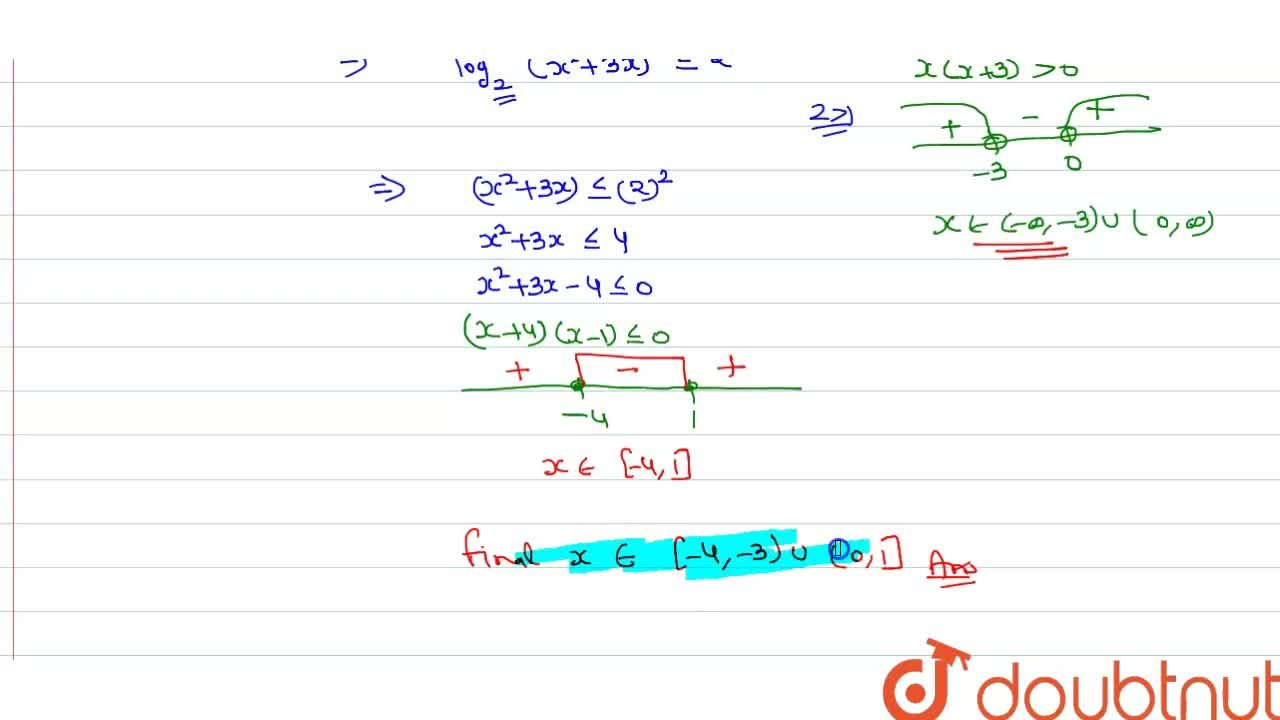 Solution set of the inequality, 2-log_(2)(x^(2)+3x) ge0 is-