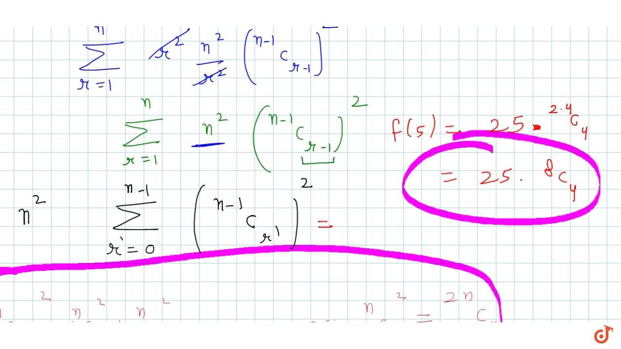 Solution for Let  f (n) =sum_(r=1)^n r^2 C_r^2.Then, f (5) =
