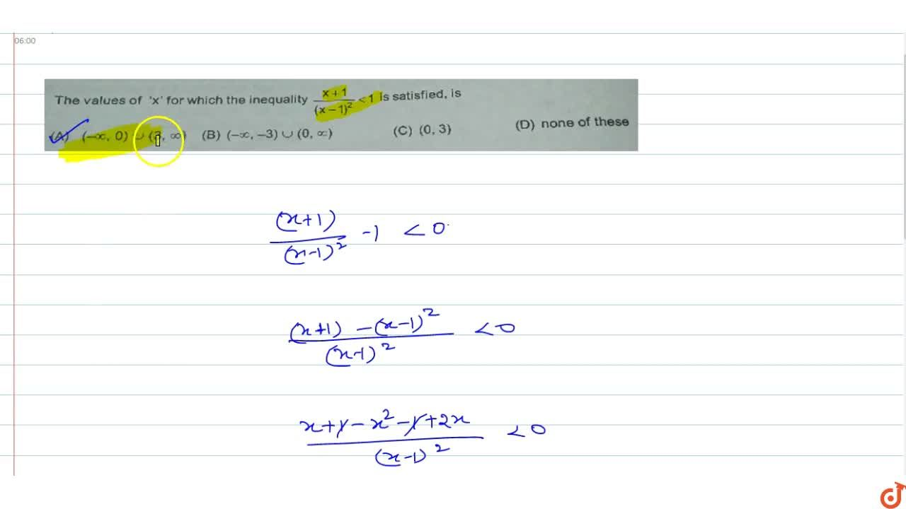 Solution for The values of 'x' for which the inequality (x+1),
