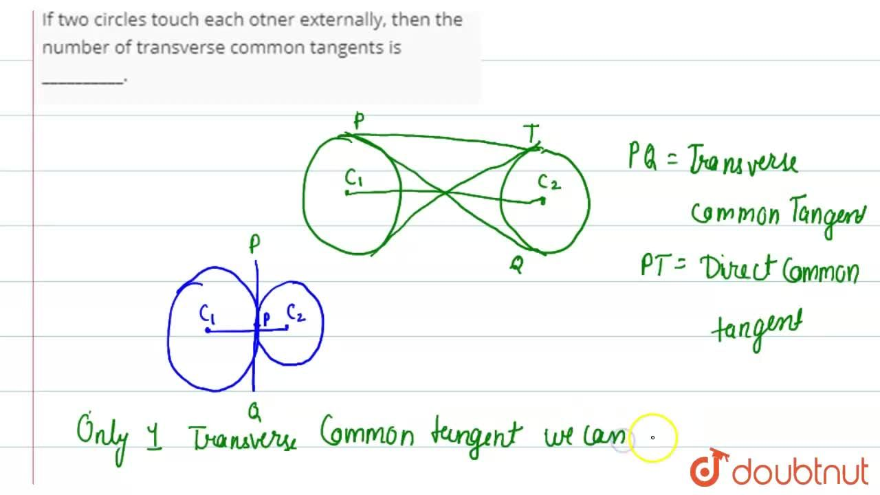 If two circles touch each otner externally, then the number of transverse common tangents is __________.